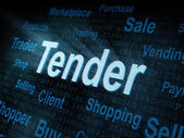 Pixeled word Tender on digital screen — Stock Photo