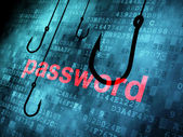 The word password hooked by fishing hook — Foto de Stock