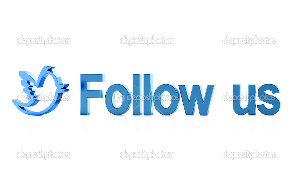 Blue bird and Follow Us word on white? 3d render — Stock Photo #11592146