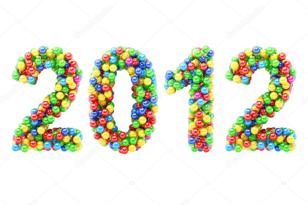 Colorful 2012  numbers on white background. — Stock Photo #11592282