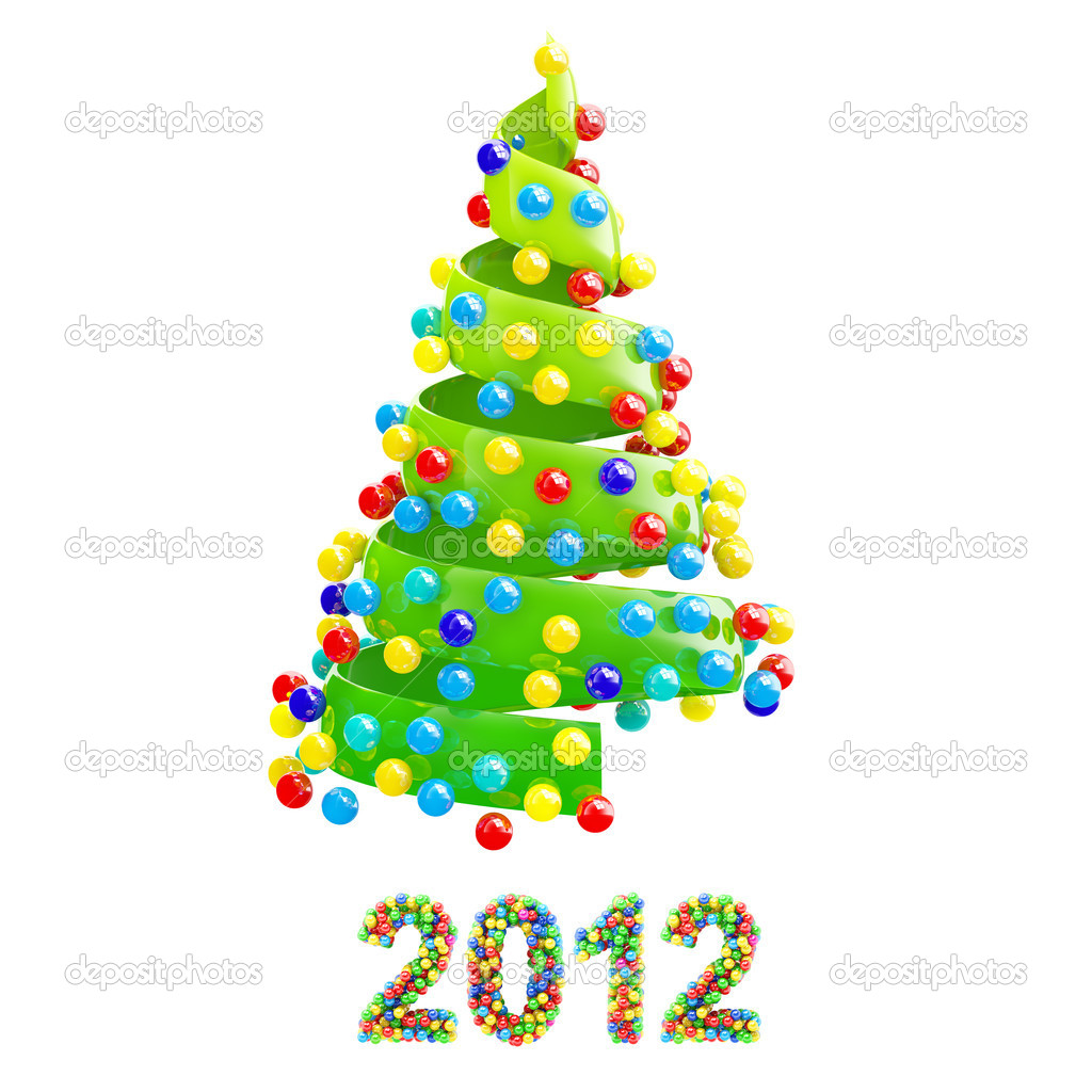 Christmas tree with colorful 2012 text on white background — Stock Photo #11592339