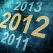 Timeline concept: pixeled word 2011 2012 2013 on digital screen — Stock Photo