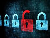 Bezpečnostní koncept: zámek na digitálním displeji — Stock fotografie
