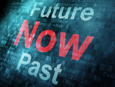 Timeline concept: pixeled word Past Now Future on digital screen — Stock Photo