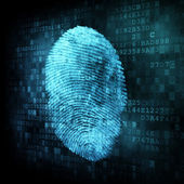 Fingerprint on digital screen — Stock Photo