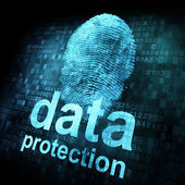 Fingerprint and data protection on digital screen — Stock Photo