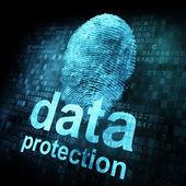 数字屏幕上的指纹和数据保护 — 图库照片