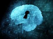 Brain with keyhole on digital screen — Stock Photo