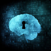 Brain with keyhole on digital screen — Stock Photo