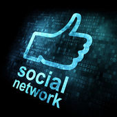Like + social network on digital screen — Foto de Stock