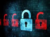 Security concept: Lock on digital screen — Stock Photo