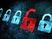 Koncepcja bezpieczeństwa: blokada na cyfrowym ekranie — Zdjęcie stockowe