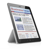 Digital news on tablet pc computer screen — Stock Photo