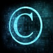 Copyright symbol on digital screen — Stock Photo