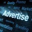 Stock Photo: Pixeled word Advertise on digital screen