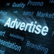 Pixeled word Advertise on digital screen — Stock Photo