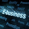 Pixeled word E-business on digital screen — Lizenzfreies Foto