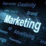 Pixeled word Marketing on digital screen — Stock Photo