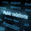 Stock Photo: Pixeled word Public relations on digital screen