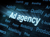 Pixeled word Ad agency on digital screen — Stock Photo