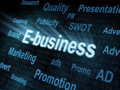 Pixeled word E-business on digital screen — Stock Photo