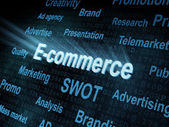 Pixeled word E-commerce on digital screen — Stock Photo