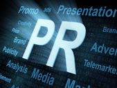 Pixeled word PR on digital screen — Stock Photo