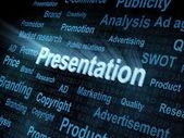 Pixeled word Presentation on digital screen — Stock Photo