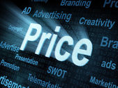 Pixeled word Price on digital screen — Stock Photo