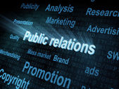 Pixeled word Public relations on digital screen — Stock Photo