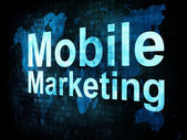 Marketing concept: pixelated words Mobile Marketing on digital s — Stok fotoğraf