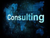 Business concept: pixelated words Consulting on digital screen — 图库照片