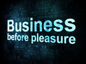 Business concept: pixelated words Business before pleasure on di — ストック写真