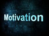 Trabalho, trabalho conceito: pixelated palavras motivação na tela digital — Fotografia Stock