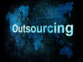 Job, work concept: pixelated words Outsourcing on digital screen — Stock Photo