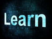 Education and learn concept: pixelated words Learn on digital sc — Foto Stock
