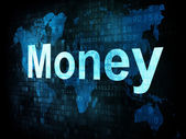 Money concept: pixelated words Money on digital screen — Stok fotoğraf