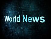 News and press concept: pixelated words World News on digital sc — ストック写真