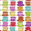 Stock Vector: Teacup Seamless Background
