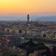 Beautiful sunset over the river Arno in Florence, Italy, - Stock Photo