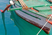 Old wooden fishing boat detail — 图库照片