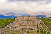 Novigrad Dalmatinski fortress and Velebit Mountain — Stock Photo
