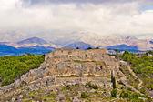 Novigrad Dalmatinski fortress and Velebit Mountain — Stock Photo