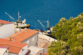Fishing boats aerial view in Novigrad Dalmatinski — Stock Photo