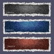 Three banners of denim texture — Stock Vector
