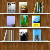 Estante com livros — Vetor de Stock