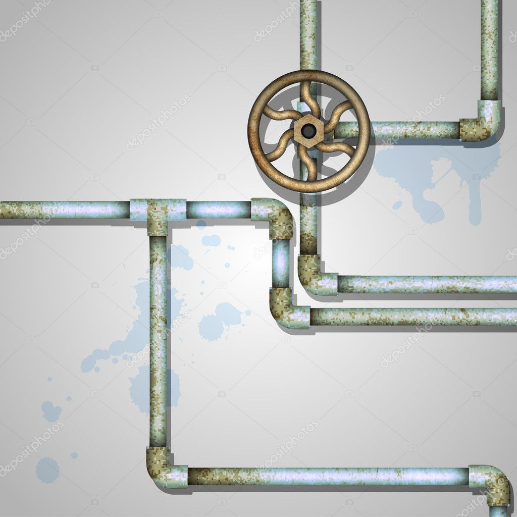 Industrial background with rusty pipes — Stock Vector #11091287