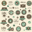 Stock Vector: Collection of coffee labels and elements