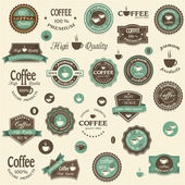 Collection of coffee labels and elements — Stock Vector