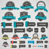 Collection of vintage labels and ribbons — Stock Vector